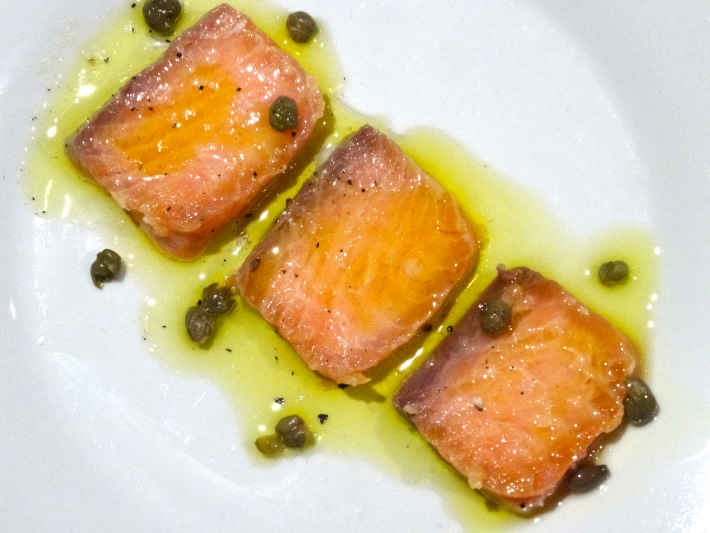 Brined Sous Vide Salmon Carpaccio With Capers And Olive Oil
