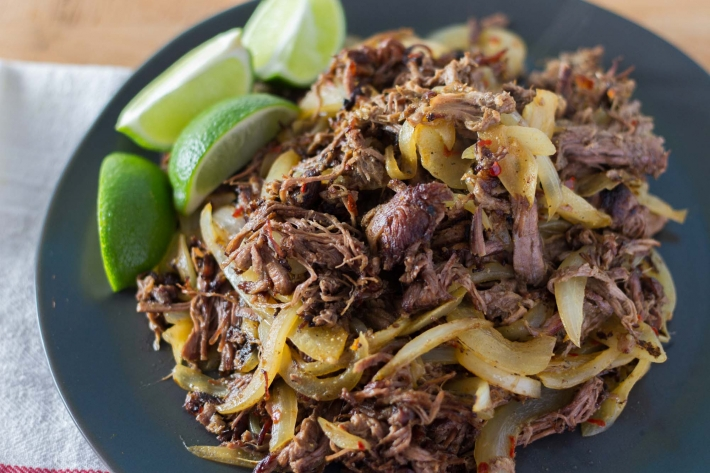 Sous Vide Cuban Shredded Beef and Onions