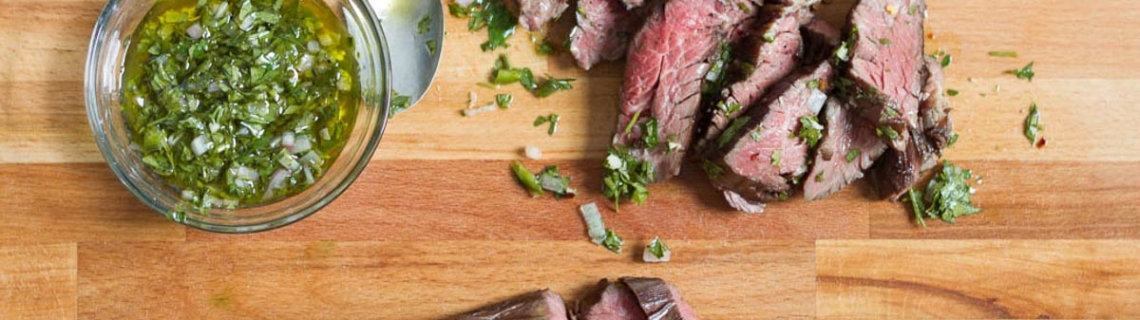 Sous Vide Hanger Steak With Chimichurri Sauce