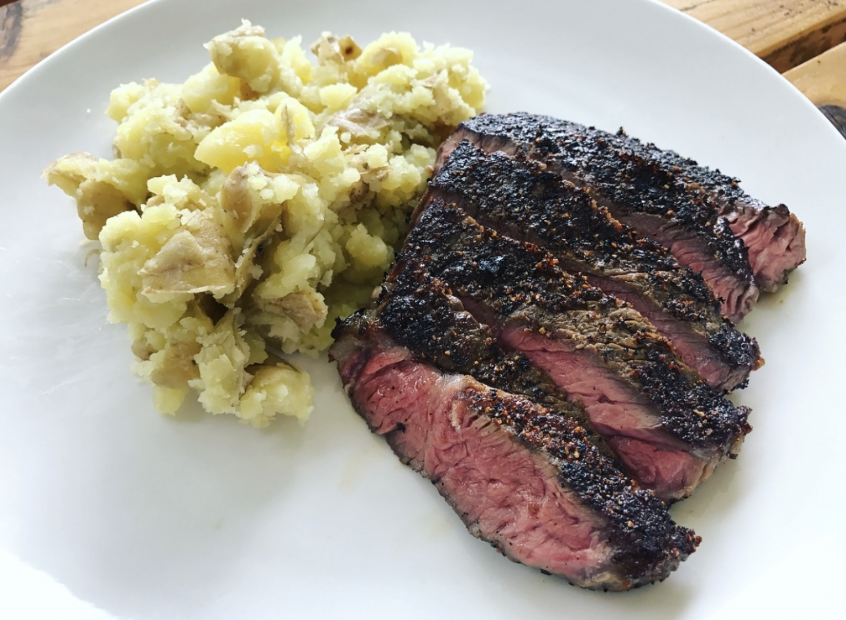 sous vide sirloin steak with smashed yukon gold potatoes. Black Bedroom Furniture Sets. Home Design Ideas